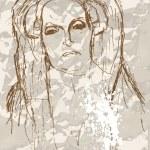 Постер, плакат: Gustav Klimt sketch Portrait of an old woman Grunge background