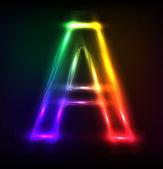 Vector alphabet. Neon letter A — Stock Vector