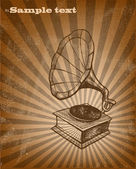 Retro music background. Gramophone — Stock Vector