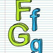 Hand Drawn sketch Alphabet. Letters F, g — Stock Vector