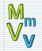 Hand ritad skiss alfabetet. bokstäverna m, v — Stockvektor