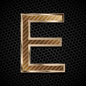 Metallic font . Letter E — Stock Vector