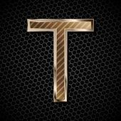 Metallic font . Letter T — Stock Vector