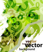 Abstract green background with numbers — Stock Vector