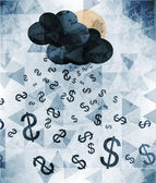 Abstract background of the dollar rain — Stock Vector