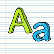 Hand Drawn sketch Alphabet. Letter A — 图库矢量图片