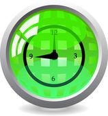Przycisk zegar błyszczący — Wektor stockowy