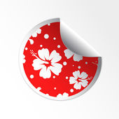 Sale tag stickers . Hibiscus flower — Stock Vector