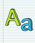 Hand Drawn sketch Alphabet. Letter A — Stock Vector