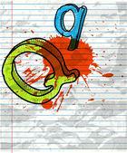 Splash grunge paper letter Q background — Stock Vector