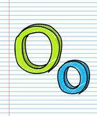 Hand Drawn sketch Alphabet. Letter O — ストックベクタ