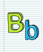 Hand Drawn sketch Alphabet. Letter B — Stock Vector