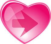 Heart and arrow button — Stock Vector