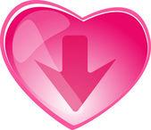 сердца и стрелы кнопка — Cтоковый вектор