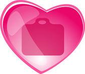 Heart Briefcase internet button — Stock Vector