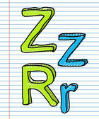 Hand Drawn sketch Alphabet. Letter Z — Stock Vector