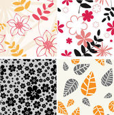 Set. styled flowers- floral seamless pattern — Stock Vector