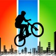 Vector silhouette cycling on abstract background — Image vectorielle