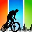 Vector silhouette cycling on abstract background — Vettoriali Stock