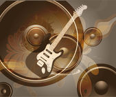 Retro Music Event Background with a colorful Electric Guitar. — Vecteur