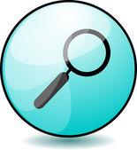 Botón lupa brillante — Vector de stock