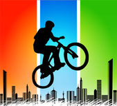 Vector silhouette cycling on abstract background — Stock Vector