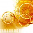 Blurry orange Background with Circles — Imagen vectorial