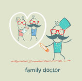 Family doctor draws a heart around the family — 图库矢量图片