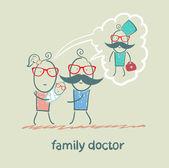 Famiglia pensa il medico di famiglia — Vettoriale Stock