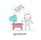 Geneticist at the computer thinks about the genes — Stock Vector