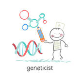 Geneticist pencil draws a presentation about the genes — Stock Vector