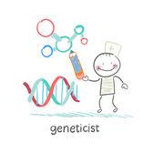 Genetiker bleistift zeichnet einen vortrag über die gene — Stockvektor