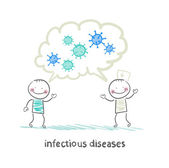 Infectious diseases specialist says with a patient about infecti — Stock Vector