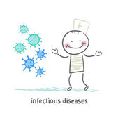 Infectious diseases stands next to infection — Stock Vector
