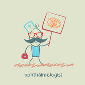 Ophthalmologist with a poster where narisovany eye — Stock Vector