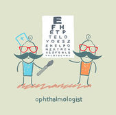 Ophthalmologist checks sight of the patient with the test — Stock Vector