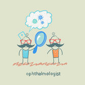Ophthalmologist tells the patient about bacteria and looking through a magnifying glass — Stock Vector