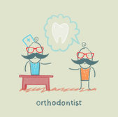Orthodontist says to a patient about tooth — Stock Vector