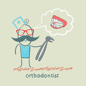 Orthodontist with a tool for thinking about pulling out a tooth jaw — Stock Vector