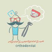 牙医用拔出牙颌的思考的工具 — 图库矢量图片