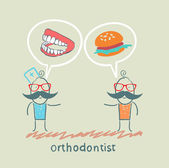 Orthodontist says to the patient's teeth and eating — Stock Vector
