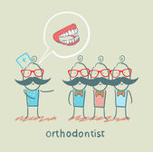 Orthodontist says with patients about their teeth — Stock Vector