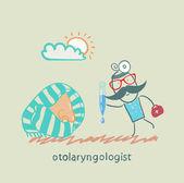 Otolaryngologist offers nasal drops — Vector de stock