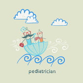 Pediatrician with baby sitting in an umbrella and floats on the waves — Stock Vector
