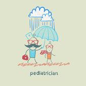 Pediatra sosteniendo un paraguas sobre el niño bajo la lluvia — Vector de stock