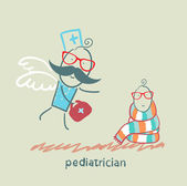 Pediatrician flies to a sick child — Stock Vector