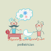 Pediatrician at work listening to her mother with a baby in a stroller — Stock Vector