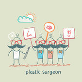 Plastic surgeon looks at people with placards which painted the nose, ear, eye — Stock Vector