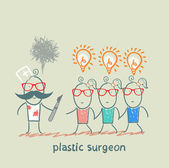 Plastic surgeon holding a scalpel and looks at patients with ideas — Stock vektor