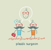 Plastic surgeon says to the patient's facial surgery — Stock Vector